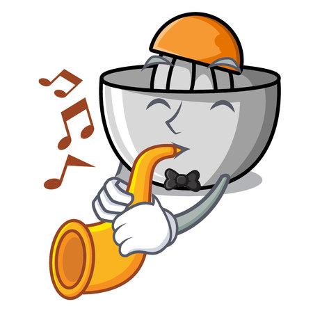 With trumpet juicer mascot cartoon style Illustration