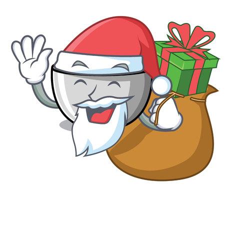 Santa with gift juicer mascot cartoon style vector illustration