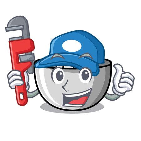 Plumber juicer mascot cartoon style