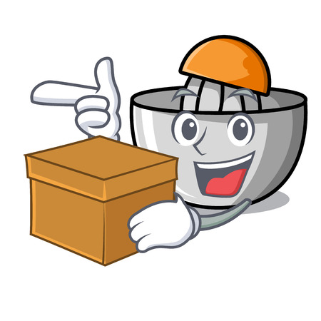 With box juicer character cartoon style vector illustration Stock Illustratie