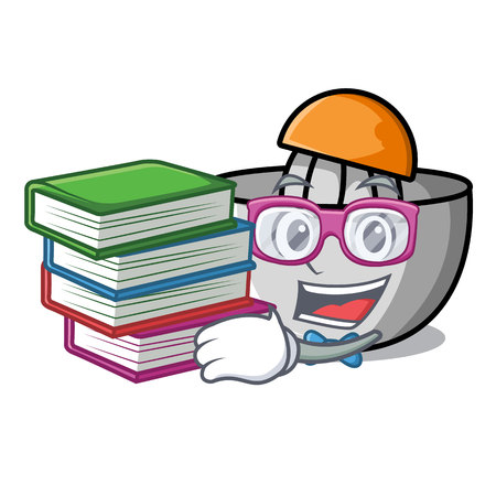 Student with book juicer mascot cartoon style vector illustration
