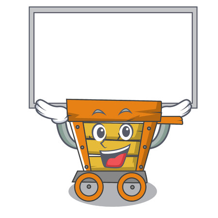 Up board wooden trolley character cartoon vector illustration