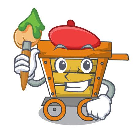 Illustration de vecteur de dessin animé de personnage de chariot en bois artiste Banque d'images - 106368142