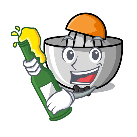 With beer juicer mascot cartoon style vector illustration Illustration