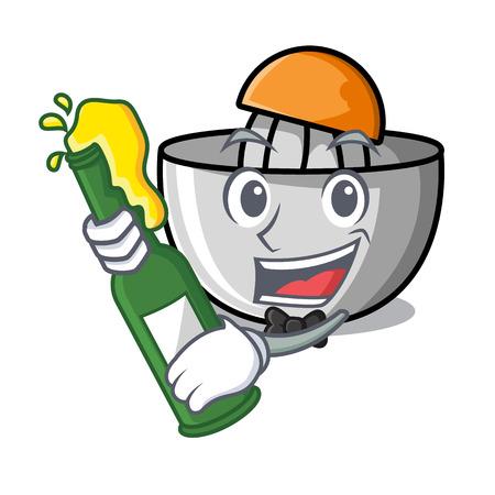 With beer juicer mascot cartoon style vector illustration Vector Illustratie