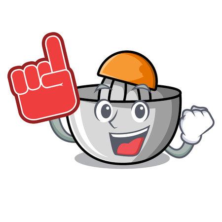 Foam finger juicer mascot cartoon style