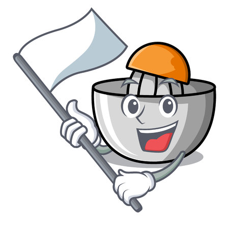 With flag juicer mascot cartoon style