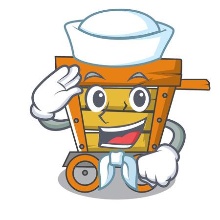 Illustration vectorielle de marin en bois chariot personnage dessin animé