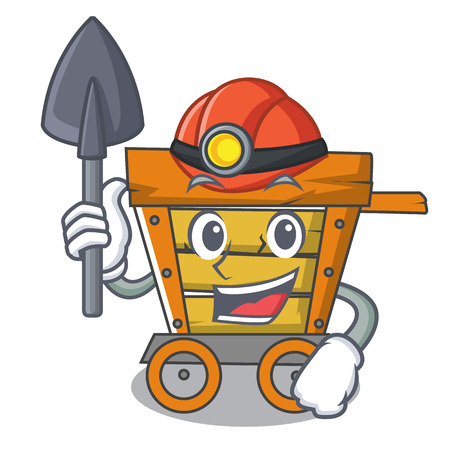 Miner wooden trolley mascot cartoon vector illustration
