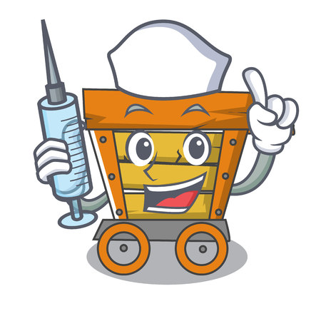 Nurse wooden trolley character cartoon vector illustration
