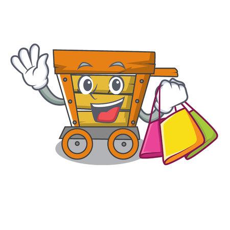 Illustrazione di vettore del fumetto del carattere del carrello di legno della spesa
