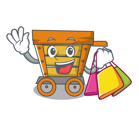 Shopping wooden trolley character cartoon vector illustration Vettoriali