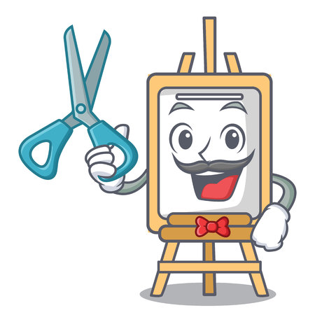 Barber easel character cartoon style vector illustration
