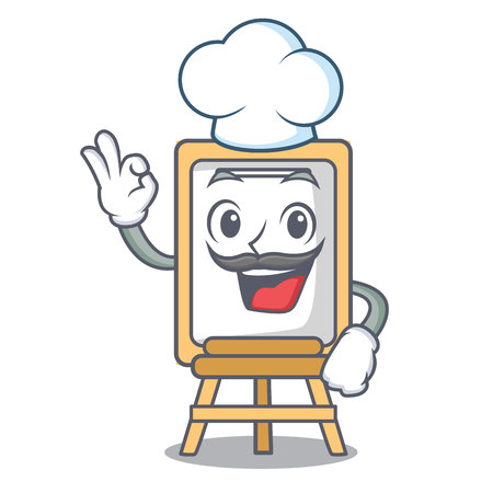 Chef easel character cartoon style vector illustration