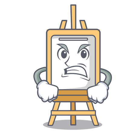 Angry easel mascot cartoon style vector illustration Çizim