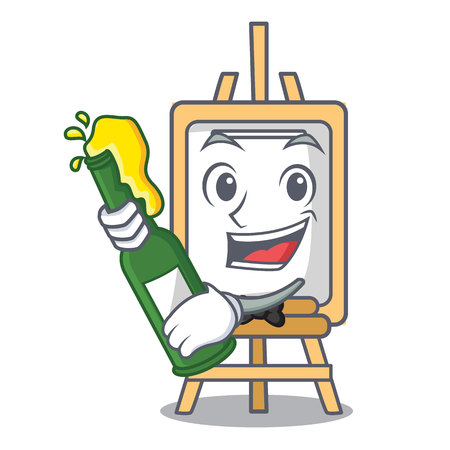 With beer easel mascot cartoon style vector illustration