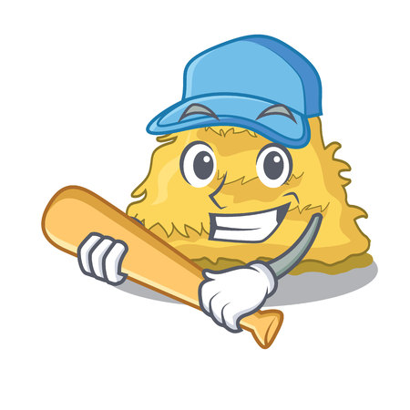 Playing baseball hay bale character cartoon vector illustration