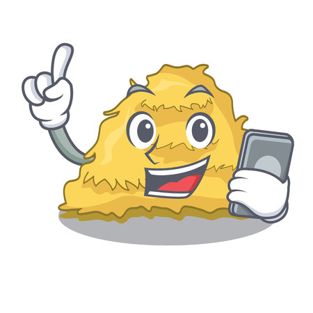 With phone hay bale character cartoon vector illustration