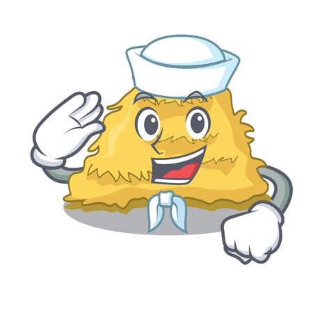 Sailor hay bale character cartoon vector illustration Ilustrace