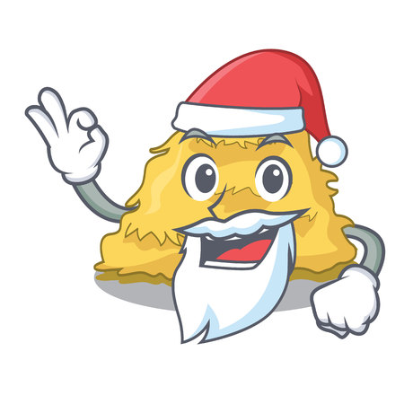 Santa hay bale mascot cartoon vector illustration  イラスト・ベクター素材