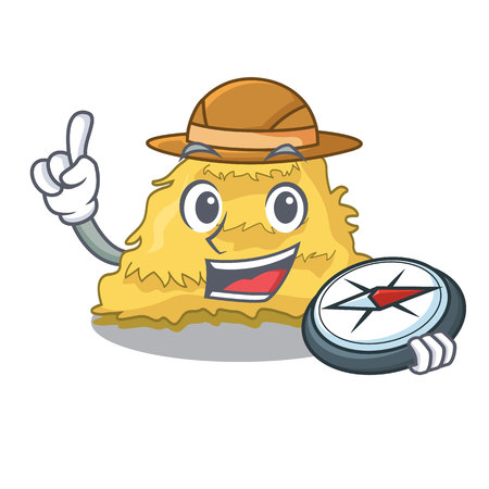 Explorer hay bale mascot cartoon vector illustration