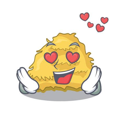 In love hay bale mascot cartoon vector illustration