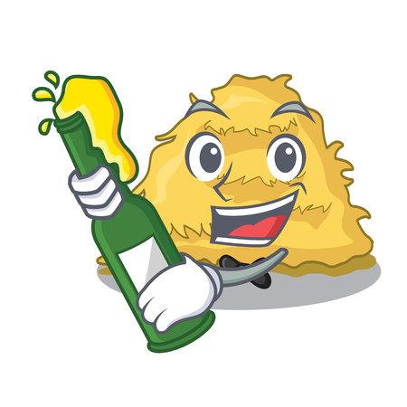 With beer hay bale mascot cartoon vector illustration
