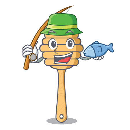Fishing honey spoon mascot cartoon vector illustration 向量圖像