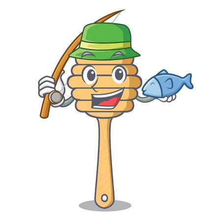 Fishing honey spoon mascot cartoon vector illustration Ilustração