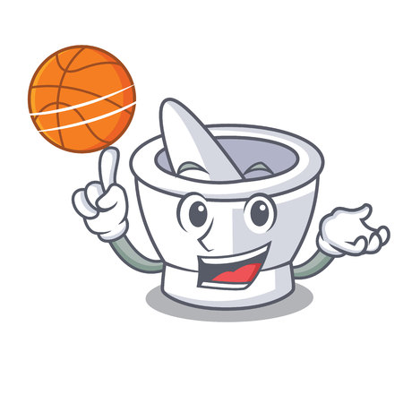 With basketball mortar character cartoon style vector illustration