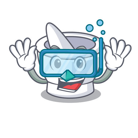 Diving mortar character cartoon style vector illustration