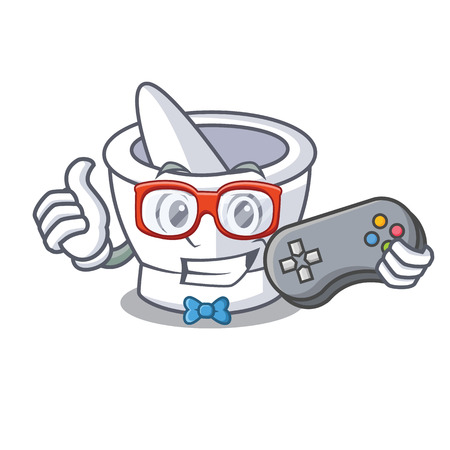 Gamer mortar mascot cartoon style vector illustration
