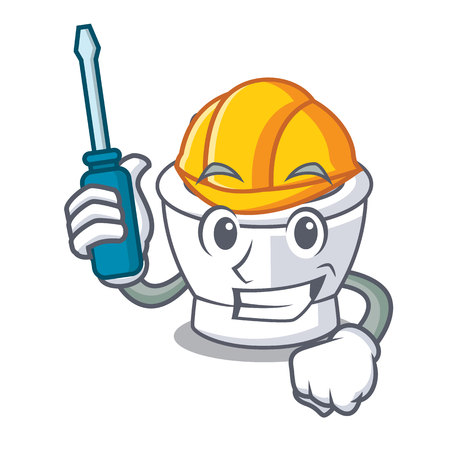 Automotive mortel mascotte cartoon stijl vectorillustratie