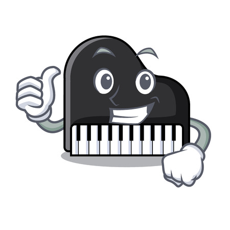Thumbs up piano character cartoon style vector illustration Çizim