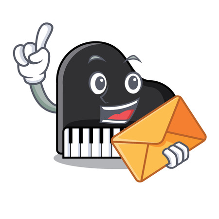 With envelope piano character cartoon style vector illustration Illusztráció