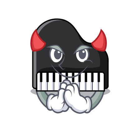 Devil piano mascot cartoon style vector illustration