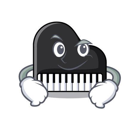Smirking piano character cartoon style vector illustration Vettoriali