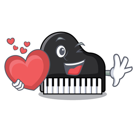 With heart piano mascot cartoon style vector illustration