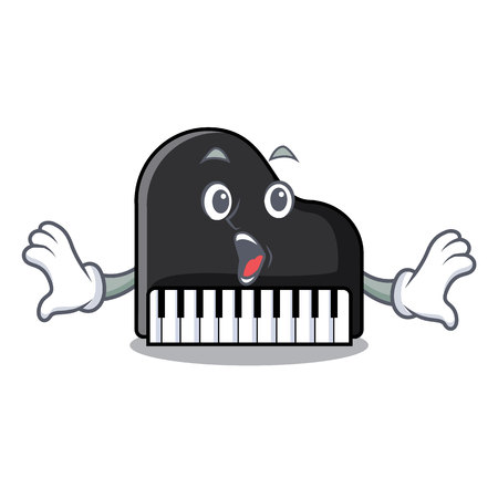 Surprised piano mascot cartoon style vector illustration