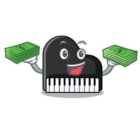 With money piano mascot cartoon style vector illustration