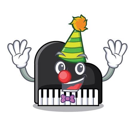 Clown piano mascot cartoon style vector illustration