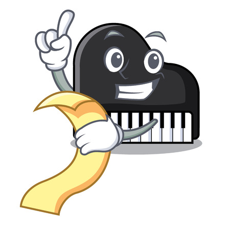 With menu piano mascot cartoon style vector illustration