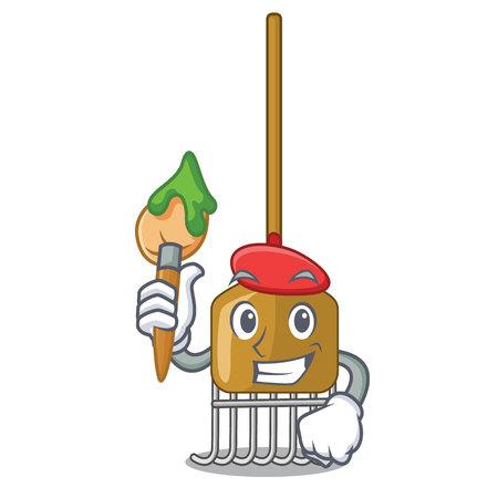 Artist rake character cartoon style vector illustration