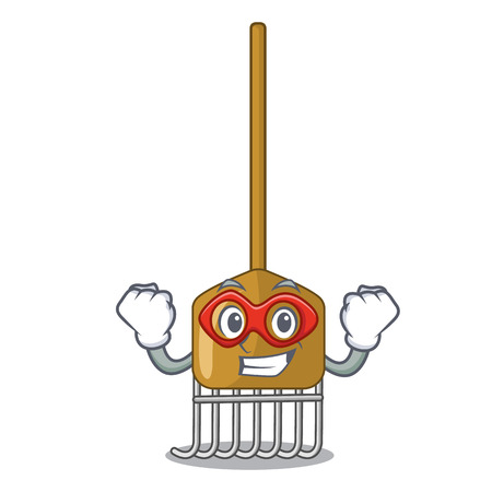 Super hero cartoon rake leaves with wooden stick Illustration