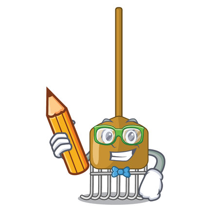 Student cartoon rake leaves with wooden stick vector illustration  イラスト・ベクター素材