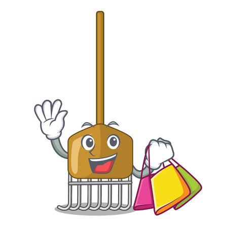 Shopping cartoon rake leaves with wooden stick vector illustration  イラスト・ベクター素材