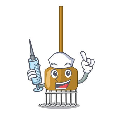Nurse cartoon rake leaves with wooden stick vector illustration Stock Vector - 106544684
