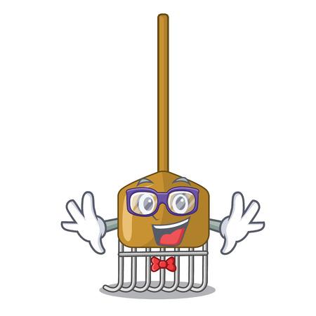 Geek cartoon rake leaves with wooden stick vector illustration Stock Vector - 111922701