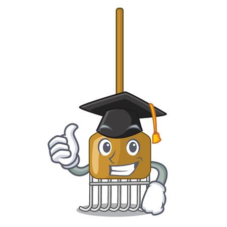Graduation cartoon rake leaves with wooden stick vector illustration Illustration
