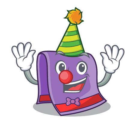 Clown towel for bath mascot vector illustration